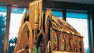 Gothic Revival church in gingerbread by Becky Stella.