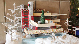 Frank Lloyd Wright's Fallingwater in gingerbread by Tsonktakis Architecture with Classic Cakes and Confections.