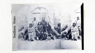 Group of Apache prisoners inside Fort Marion.