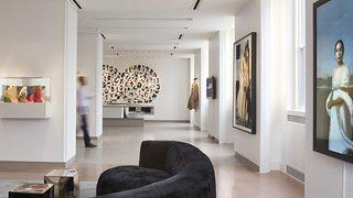 Lobby with artwork in the 21c Durham.