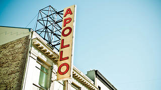 Exterior photo of the Apollo Theater.