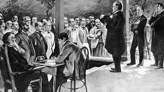 William McKinley delivers a front-porch campaign speech at his home in Canton, Ohio, in 1896.