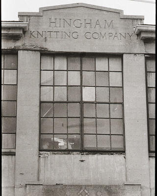 Photo of Hingham Knitting Factory sign.