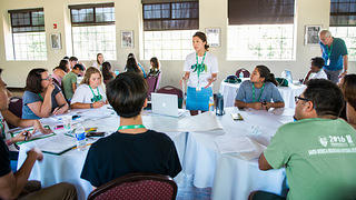 Students work on a group project during the Youth Heritage Summit Program.