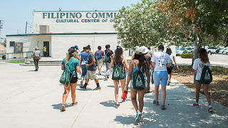 A group visits the Filipino Community Cultural Center in Delano, California, as part of the Youth Heritage Summit Program.