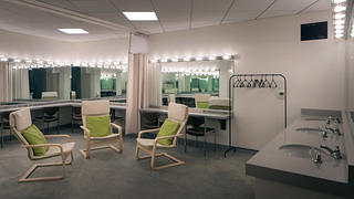 A dressing room in the Ford Theatres.