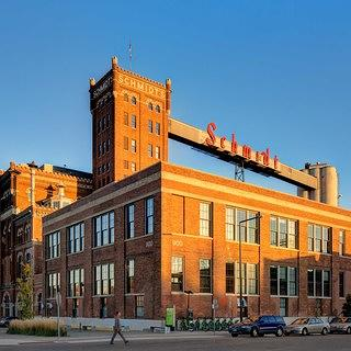 The exterior of the Schmidt Artist Lofts.