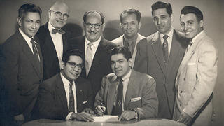The original seven board of trustees and Felix Tijerina at the signing of the Deed and the Deed of Trust to LULAC Clubhouse in 1955.