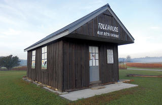 The Banning Toll House is a small frame structure with a Hipped Roof.
