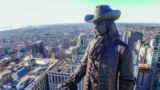 The statue of William Penn atop City Hall in Philadelphia.