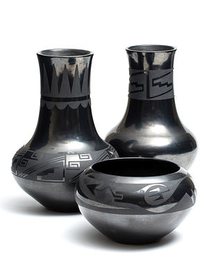 The glossy black pottery pieces are on display at Oatlands in Virginia.