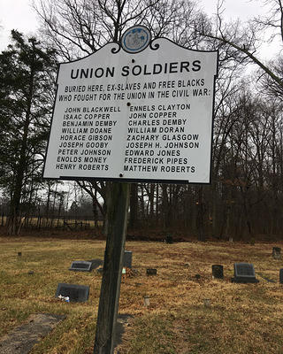 Historic marker for Unionville cemetery, Maryland.