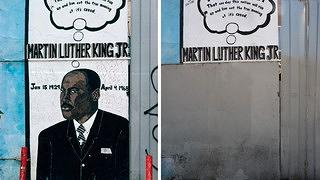 MLK Jr. mural at South Park Liquors by Cornell McKennon, South Avalon Boulevard at 51st Street, 2006 (L) and 2013 (R)