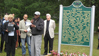 Dedication ceremony for historic Idlewild markers. Yates Township, Lake County, Michigan, 2009.