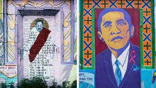 "MLK Jr. mural, ""I Have a Dream"" by T. Murdock, painted 1995, Oakwood, South Side Chicago, 2008 (L). Barack Obama portrait at the same site, photographed in 2017."