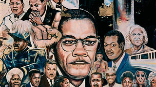 "Mural of Malcolm X and MLK Jr. among others, ""African Amalgamation of Ubiquity,"" by Curtis Lewis, on the side wall of a drug rehabilitation center at 9980 Gratiot Avenue in Detroit, 2008."