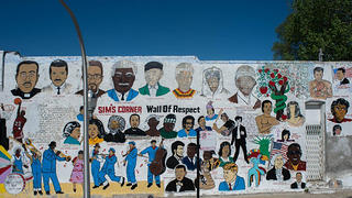 Mural painted by Wardell McClain, artist. Sponsored by Sims Barbershop, Champlain Avenue at 47th Street, Chicago, 2016.