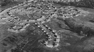 Aerial view of Greenhills under construction in 1936