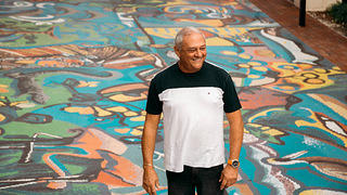 Santos Mendez, a local artist who was commissioned to create mosaics and murals throughout Miami.