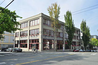 Facade of the Elysian Brewing Building in the Capitol Hill neighborhood of Seattle