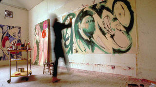 "Lee Krasner painting ""Portrait in Green,"" 1969."