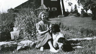 Dorothy Weir with Young Hank on Weir Farm.