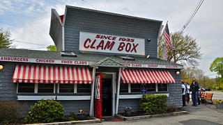 Side view of the Clam Box in Ipswich, Massachusetts.