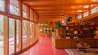 Tirranna's floors are red concrete and have radiant heating, like at Wright's Pope-Leighey House.