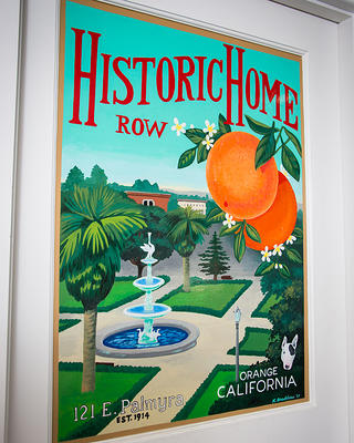 "This art in the style of a vintage poster promoting ""Historic Home Row"" was added to one of the cottage's door."