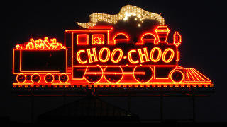 Neon sign on the exterior facade of the Chattanooga Choo Choo Hotel.
