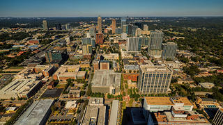 An aerial view of Atlanta from the AT&T Building in Midtown.