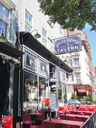 The exterior of the White Horse Tavern.