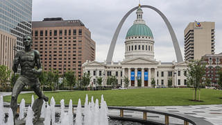 The Gateway Arch as seen from Kiener Plaza.