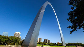 A close-up shot of the Gateway Arch.