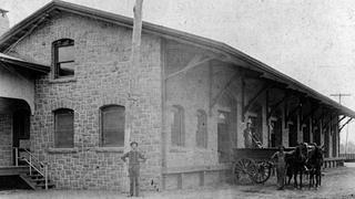 A historic photo of the Lansdale Freight Station.