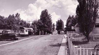 Photo of a historic mobile home park, c. 1952 in Anoka County, Minnesota.
