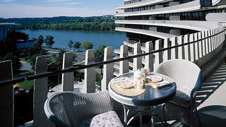 Outdoor view of a Watergate residence with views of the Potomac River and Kennedy Center.