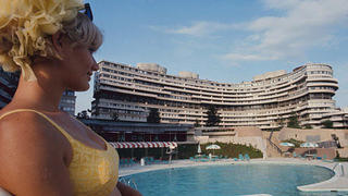Lifeguard Linda Fox in front of one of the Watergate's three pools, 1969.