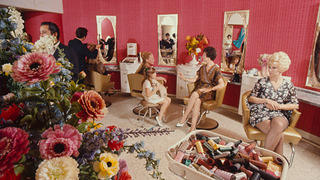 Martha Mitchell and Kathy Stans at the Watergate salon, 1969.