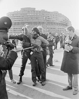Antiwar Demonstrator in front of the Watergate complex, February 1970.