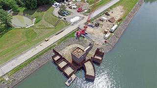 The temporary cofferdam during construction.