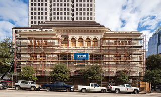 The facade during the renovation, when the scaffolding was erected.