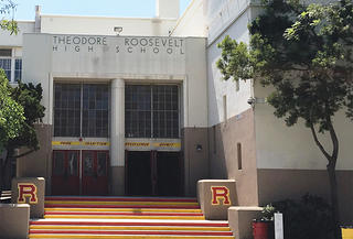 The main building at Roosevelt High School that is threatened with demolition.