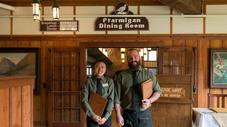 Servers Shan Lu and Kevin Crowell at Many Glacier Hotel.