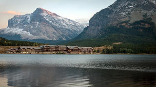 A view of Many Glacier Hotel from across Swiftcurrent Lake.