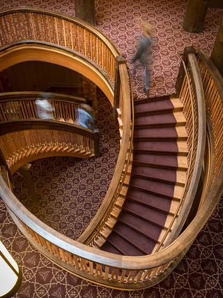 The main staircase at Many Glacier Hotel.