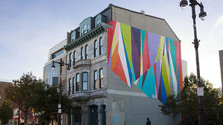 "Odili Odita's ""Our House"" as seen on Broad Street in Philadelphia. He'll be bringing his colorful, geometric forms to Cleveland as part of the Front International Cleveland Triennial for Contemporary Art."
