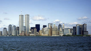New York City skyline in 2001, featuring the World Trade Center.