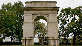 Rosedale World War I Memorial Arch (1924) in Rosedale, Kansas.