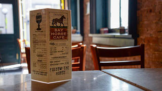 """Bay Horse's menu, featuring 25oz """"schooners"""" for $4!"""